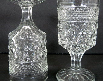 Anchor Hocking Wexford 5 1/2in Wine Juice Glass Tumbler Stem x2