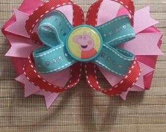 Pegga Pig hair bow,Pegga pig birthday,Pegga pig invitation, Pegga pig dress,Pegga pig shirt,Pegga pig banner,Pegga pig centerpieces,Pegga