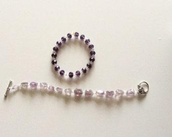 Amethyst stone bracelet set