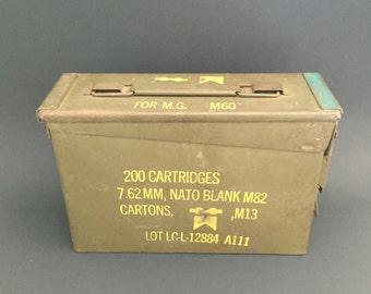 Ammo Can; US Military Green Metal Ammunition Box; Militaria; Ammo Box; Vintage Ammo Box; Vintage Military Box; Metal Storage Box