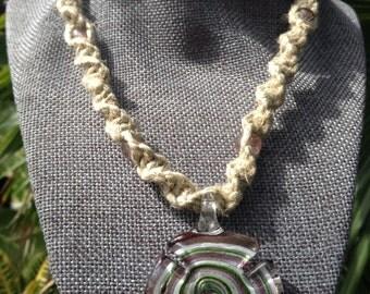 Colorful glass pendant on hemp necklace