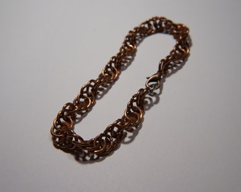 Spiral copper chainmaille bracelet