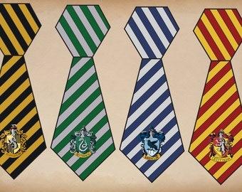 Printable Hogwarts House Ties, Harry Potter House Crests, Harry Potter House Ties