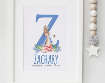 Personalised New Baby Boy/Girl Peter Rabbit Nursery Birth Name Print Keepsake Picture Christening Gift UNFRAMED