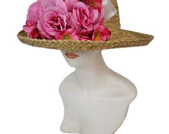 Flower straw hat derby fancy hat beach hat summer hat tea hat party outdoors