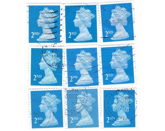 25 Blue stamps 2nd class, English postage stamps - Vintage used Stamps, GB, England