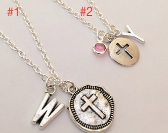 Sale* 50% Off Personalized Initial Cross Pray Birthstone Charm Silver Plated Necklace set of 2 Charm Necklaces Free gift box Girlfriend gift