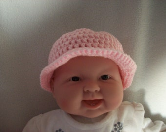 Baby's  Girls, Hand Crochet hat,Pink,size 3-6 months,