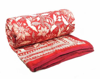 Hand Block Printed Cotton Quilt Hand Block Printed Bossanova Red