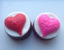 1 Dozen Belgian Chocolate Valentine Oreo Cookies-Wedding Favors-Sweet Gift