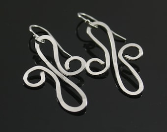 Small silver earrings, sterling silver twisted earrings, silver abstract earrings, everyday earrings, simple silver jewelry