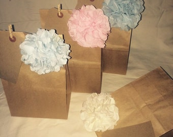 Wonderful Wedding party kids party favour bags with flower pompom gift tag luggage label and peg