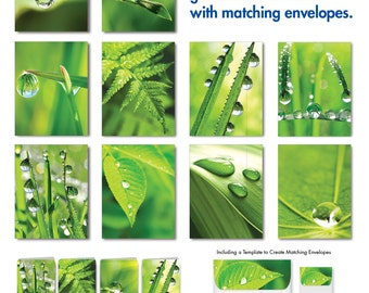 Just Dew It: Digital Download of 10 Assorted Blank Note Cards Feature Dew Drops on Leafy Greens, W/Matching Envelopes