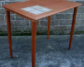 Bramin Danish modern teak mid century tiled side table retro vintage 60s 70s