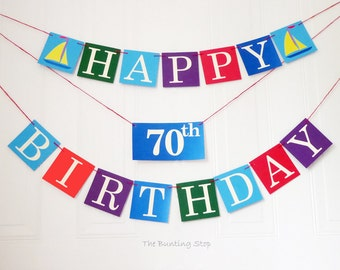 Happy birthday bunting, any age, 70th birthday, sailboat nautical party decor, banner