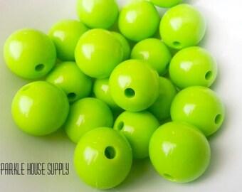 20mm Large Light Green Round Chunky Gumball, Bubblegum Beads - 20 Pcs