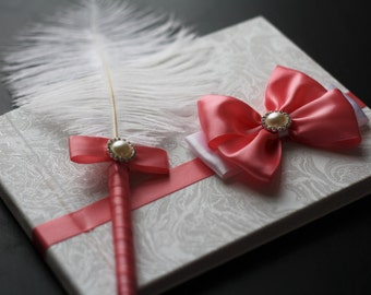 Dark Pink Sign in Book with Ostrich Feather Pen \ coral guest book and pen / salmon color wedding album / coral bridal memory journal