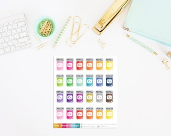 Pill Bottle Refill and Pickup Planner Stickers