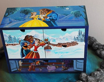 Alice In Wonderland Cat Hand Painted Wooden Box Cheshire Cat