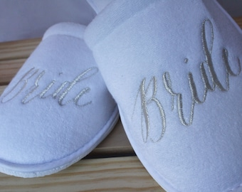 Slippers for the Bride, Maid of Honor and Bridesmaids. Gift, package, day of the wedding, photo,