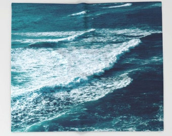 Ocean Waves, Fleece Throw Blanket, Coastal Beach Surf Decor, Home Decor