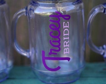 Bridal Party Gifts, Bachelorette Party Cups, Custom Tumbler with Straw, 4 Mason Jar Tumblers, Personalized Tumbler, Bridesmaid Gift