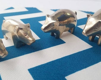 4 Vintage Brass Pigs