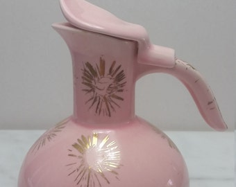 Pink Syrup Container, Gold starburst, lid, Kitschy