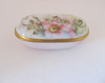 AZALEA Pink and Gold Trinket Box Made in Germany