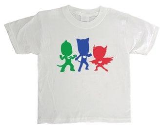 """PJ Masks - """"PJ Masks's Silhouettes"""" - PJ Masks Shirt - Owlette Shirt -  Catboy Shirt - Gekko Shirt - White Toddler and Youth Size T-Shirt"""