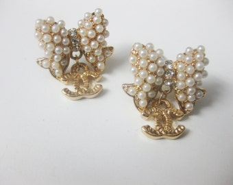 pearl bow rosegold stud