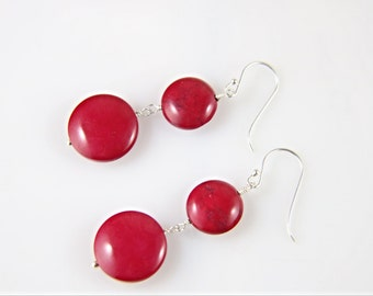 Flat round red gemstone beads sterling silver dangle & drop earrings