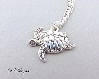 Silver Turtle Necklace, Silver Turtle Pendant, Turtle Charm Necklace, Silver Charm Necklace, Silver Necklace, Trendy Necklace