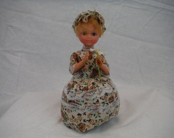 1980's Floral Dress Beautiful Girl Pin Cushion- Antique, Vintage, Usable