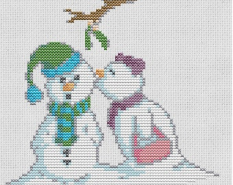 Snowmen Cross Stitch Pattern Digital Download