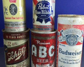 Pull Tab Beer Cans 5pc