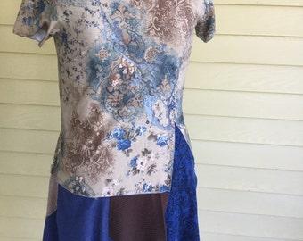 Upcycled tee shirt tunic dress