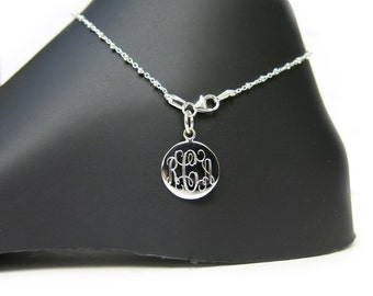Monogrammed 925 Sterling Silver Link and Bead Chain Personalized Anklet