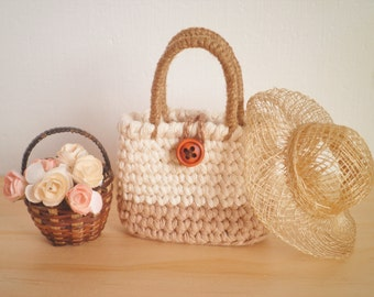 FREE SHIPPING, Miniature Tote Bag with a Button, Doll Bag, Small Crochet Bag, Shabby Chic Home Decor, Country Chic Bag, Gift for Women