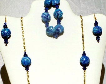 Blue Beaded Necklace Set, Blue Necklace, Lampwork Beads, Swarovski Crystals, Long Necklace on Chain
