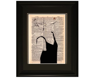 """Heartbeat''.Dictionary Art Print. Vintage Upcycled Antique Book Page. Fits 8""""x10"""" frame"""