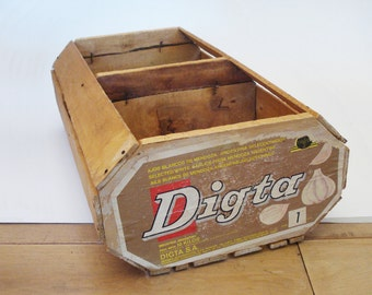 Vintage wooden garlic crate