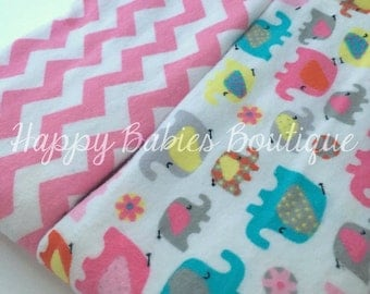 Set of two PINK Flannel-backed Burp Cloths, Pink Chevron & Girly Elephants