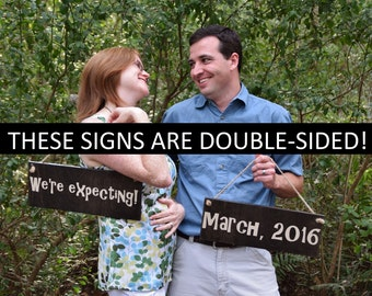 """Double-Sided Pregnancy Announcement Signs Photo Prop. Two (2) Signs """"We're Expecting"""" & personalized due date. Gender Reveal It's a Boy/Girl"""