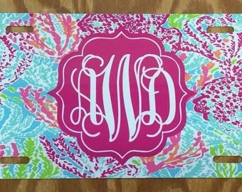 Lilly pulitzer lets cha cha Monogrammed License Plate personalized license plate monogrammed lilly pulitzer inspired Car Tag lets cha cha ca