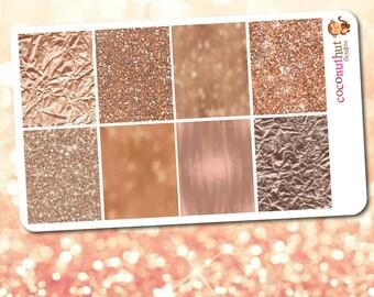 Rose Gold Glitter & Bokeh Full Box Planner Stickers
