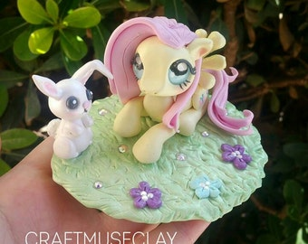 Sale! Fluttershy and angel bunny polymer clay figures//my little pony//gifts for her//kawaii//collectible//FREE US shipping code FREESHIPUS
