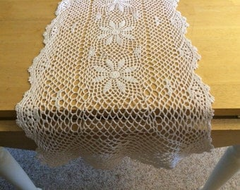 "White Crocheted Table Runner 15""x45"""