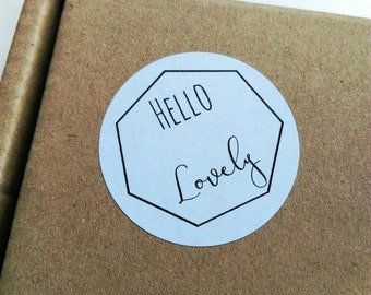 Hello Lovely stickers - monochrome modern circular stickers for your crafts and parcels. Packaging stickers, envelope labels