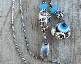 Sterling Silver Lariat with Buddha and Turkish Eye